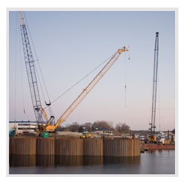 Marine construction, structural foundation, pile driving, commercial dock structures, sheet piling