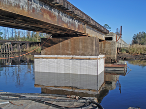 Vinyl sheet piling, bridge pier repair