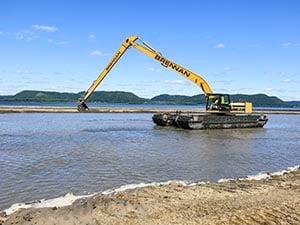 amphibious excavator, environmental dredging, wetland remediation, marshland restoration
