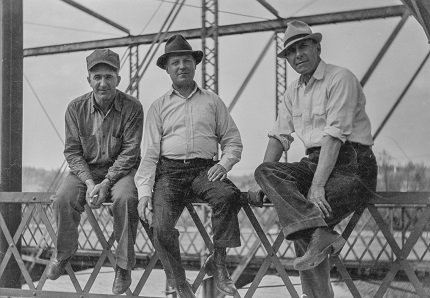 1937 Argyle Bridge Construction_Left to right_Jim Brennan did foundations, Doc Allinden another contractor who did steel ,  and State Highway Engineer A.C. Loshe
