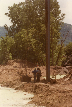 1982 Winona Floodwall Project_Roger Binsfeld, Bob Calvey, and Gary Dondlinger