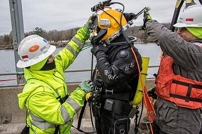 J.F. Brennan Company, Inc. diver inspects common instances of  underwater structure failures.