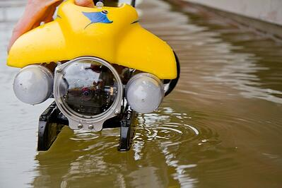 In areas where underwater investigation is not safe, an ROV can be used.