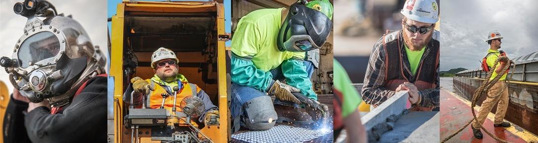 commercial diving careers, operators, welding careers, construction careers, deckhand careers, river careers.
