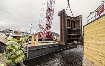 dam construction, box type cofferdam, dewater program, cofferdam, box cofferdam