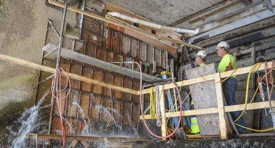 preplaced aggregate concrete, dam construction, dam repairs, concrete repairs, underwater concrete repairs, hydroelectric dam repairs, hydro dam repairs