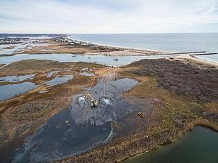 Ninigret Marsh Restoration Rhode Island Amphibious Excavation Equipment drone shot