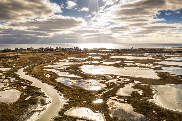 Quonochontaug Pond Rhode Island Amphibious Dredging Equipment Wide View