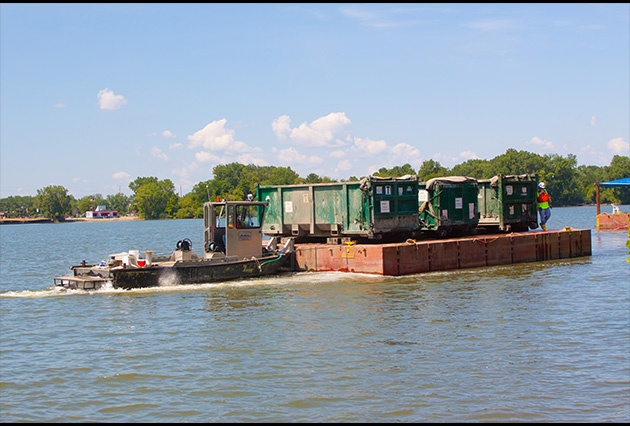 barge transport, material transport, remedial dredging