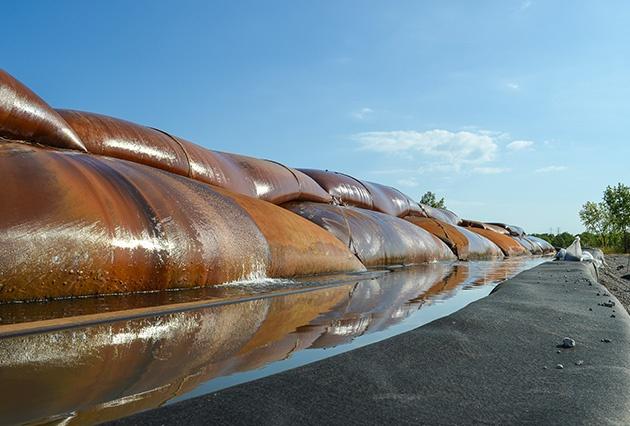 environmental dredging, passive dewatering, geotextile tube dewatering, bagfield, geotextile bags, geotubes