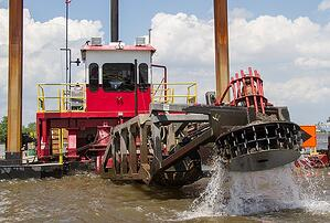 Hydraulic dredge cutterhead removing sediment