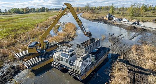 Amphibious Dredging, Environmental dredging, wetland dredging, remedial dredging, marsh excavation, marshland dredging, MGP cleanup, pcb cleanup, environmental restoration