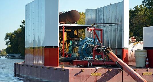 environmental dredging, hydraulic dredging, mechanical dredging, hydraulic transport, environmental dredging, remedial dredging, hydraulic booster pump, surgical hydraulic dredging