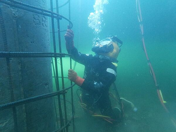 Brennan commercial diver inspecting underwater structures