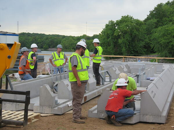 Pre cast concrete units built to hold BAFF system