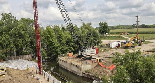 bridge construction, bridge replacement, bridge repair, pile driving, span switchout