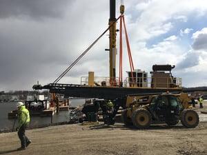 A Brennan crew mobilizing dredge equipment
