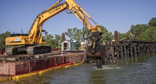 bridge demolition, bridge construction, bridge replacement, demolition, railroad bridge demolition