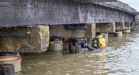 underwater inspections, railroad bridges, underwater construction, dive inspections, railroad bridges, railways
