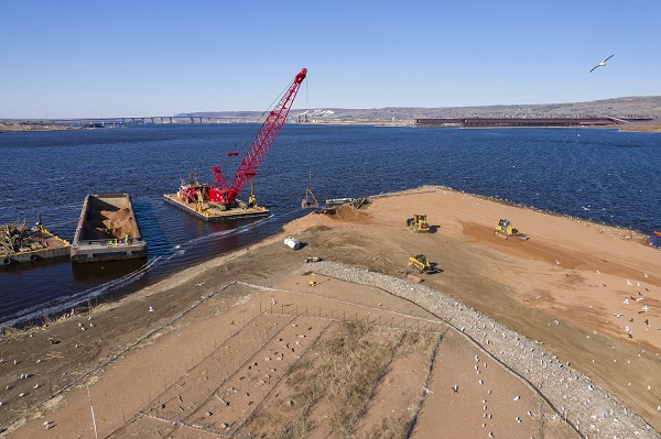 Temporary Swale on Interstate Island Duluth project