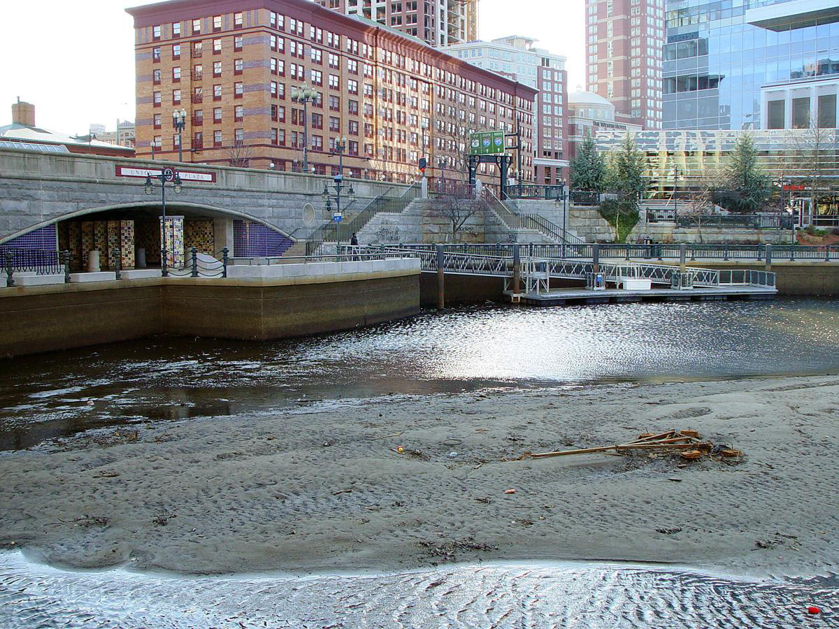Waterplace Park BEFORE dredging began in Providence, RI