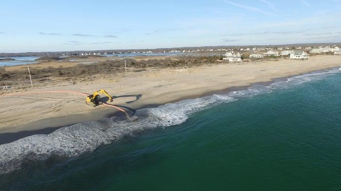 Ninigret Marsh Restoration Rhode Island Amphibious Excavation Equipment on Shore