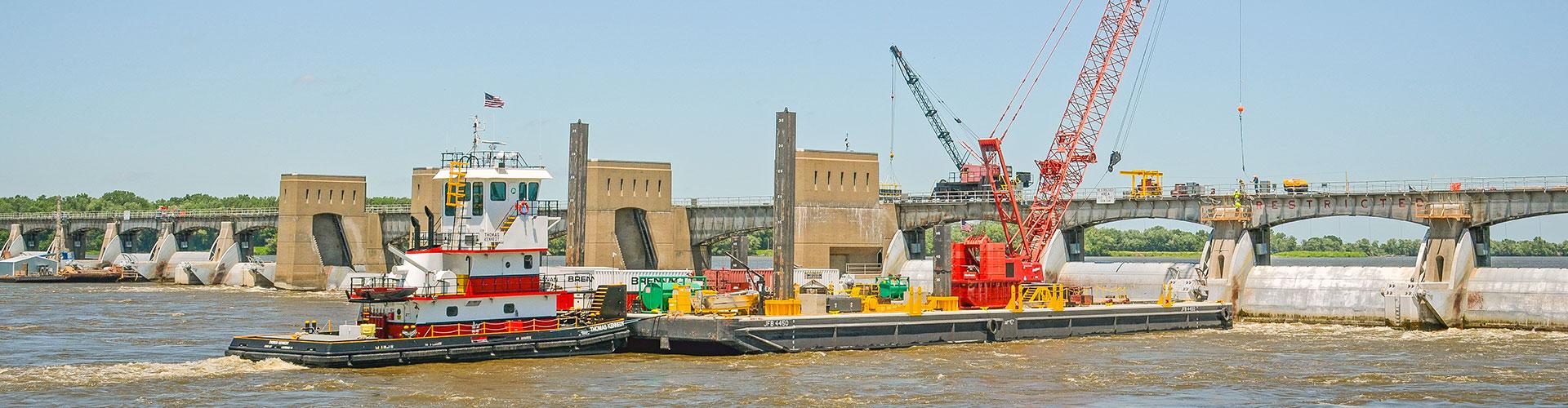 lock and dam construction, lock repairs, dam repairs, dam construction, mississippi river locks and dams, lock and dam 18, brennan, marine construction