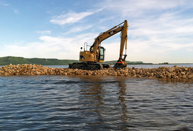 dam construction, rip rap placement, scour remediation, erosion control, rock placement