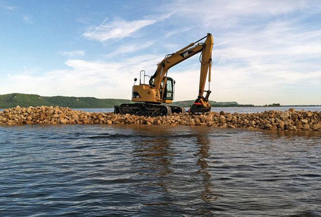 dam construction, rip rap placement, scour remediation, erosion control, rock placement
