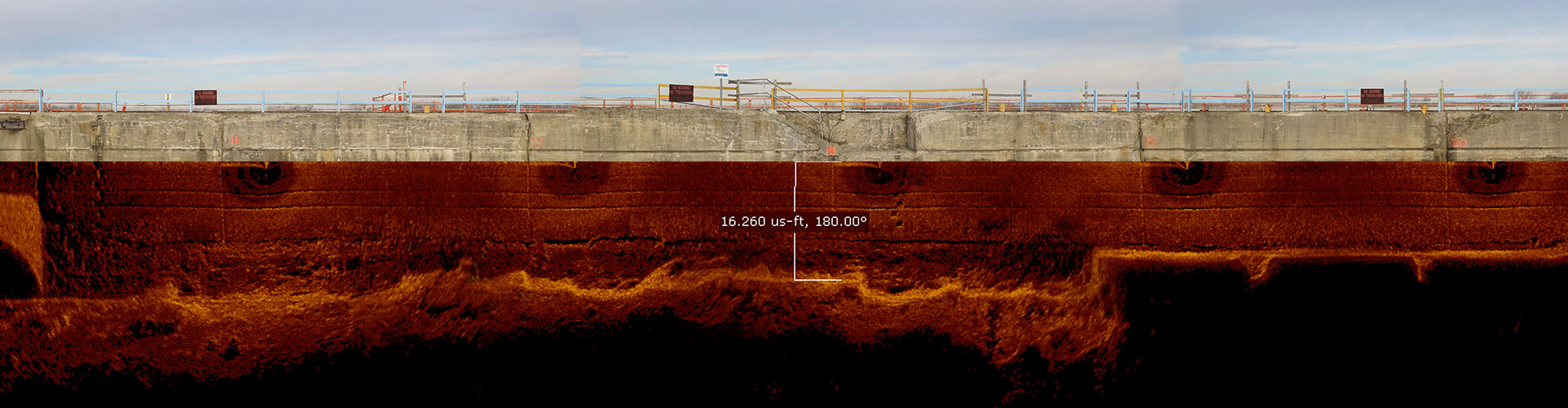 sector scan, underwater acoustic imaging, underwater imaging, 360 degree acoustic imaging, dam inspections