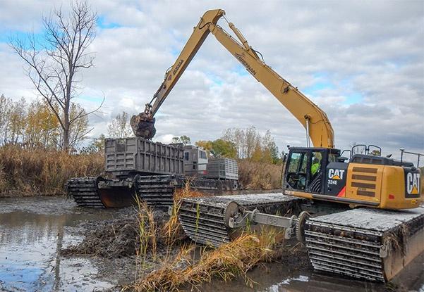 Environmental Remediation, Wetland Remediation, Environmental Cleanup, Marsh cleanup, Wetland Cleanup, Environmental Dredging, Amphibious Dredging