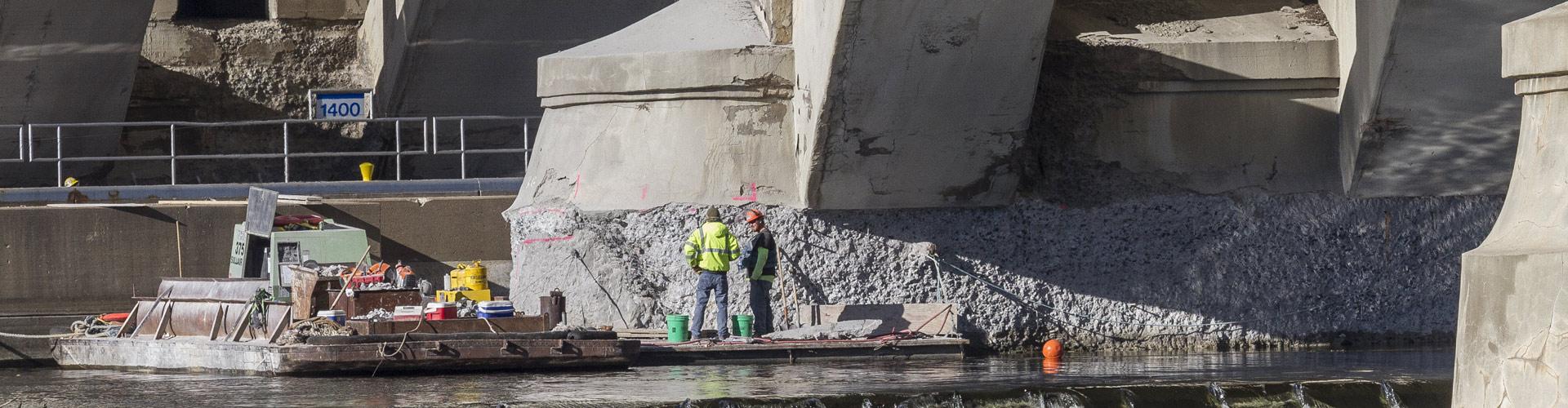 bridge pier repair, bridge abutment repair, underwater pier repairs, marine construction, st. paul marine construction, underwater concrete repairs