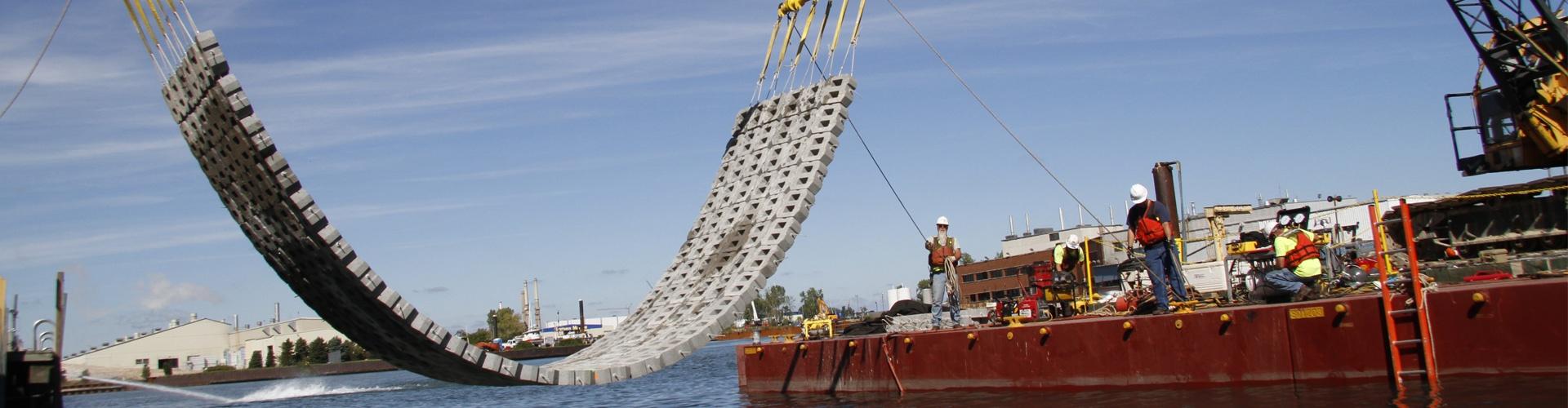 precast articulating block mats, concrete articulating block mats, erosion control, embankment protection, scour remediation, bridge scour protection