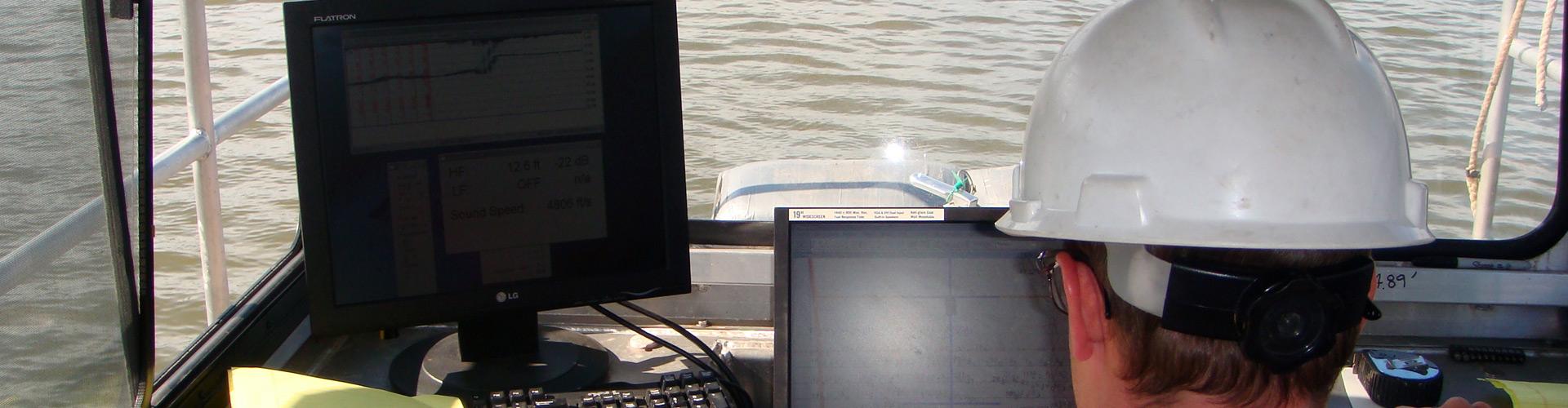 bathymetric survey, hydrographic survey, water surveys, river surveys, marine construction