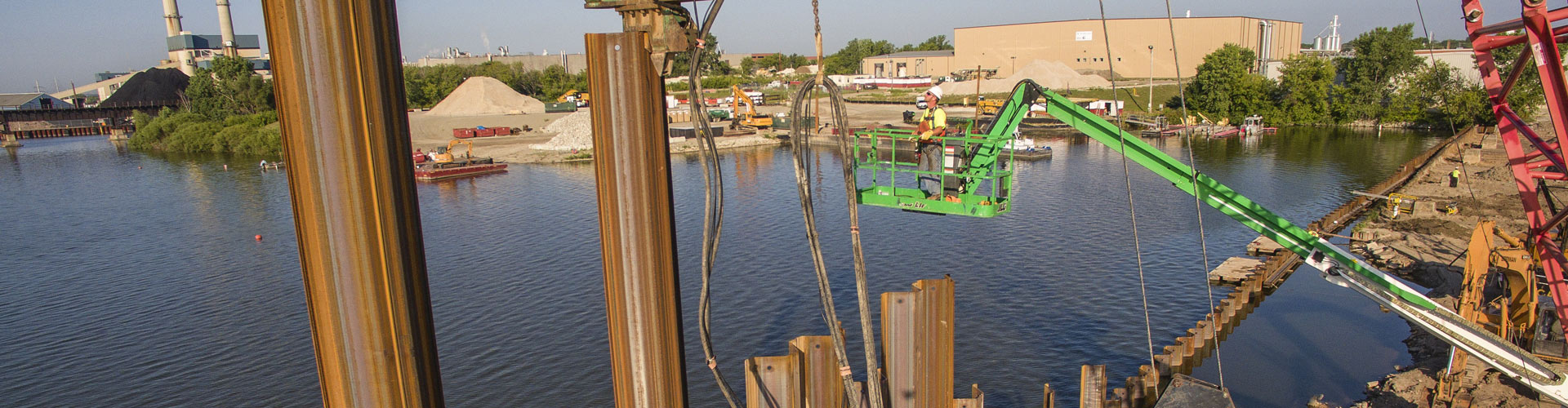 dock construction, sheet pile walls, industrial docks, pile driving