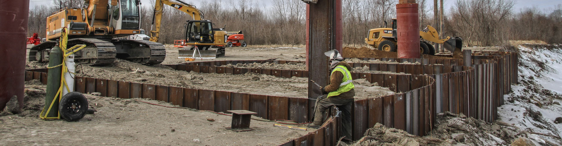 marine construction, dock construction, sheet pile walls, industrial docks, pile driving, deep foundations