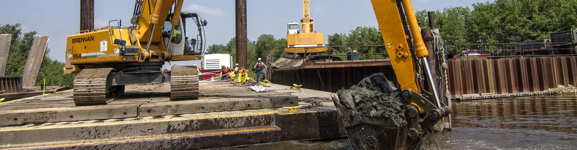 marine construction, dredging, mechanical dredging, dock dredging, barge terminal dredging, access dredging