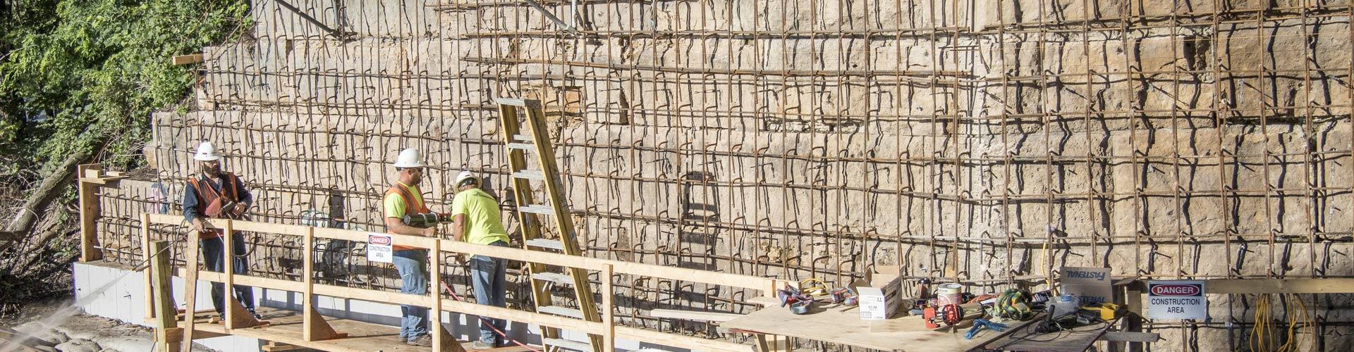 pier repairs, railroad pier repairs, masonry pier repairs, bridge construction, railroad bridge construction