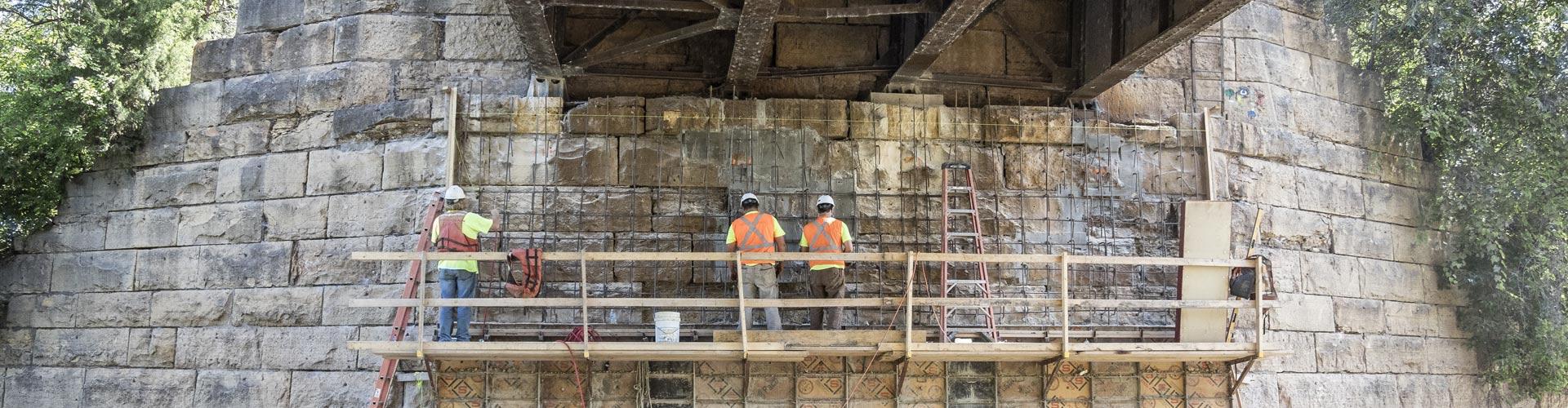 pier repairs, railroad bridge pier repairs, masonry pier repairs, bridge repairs
