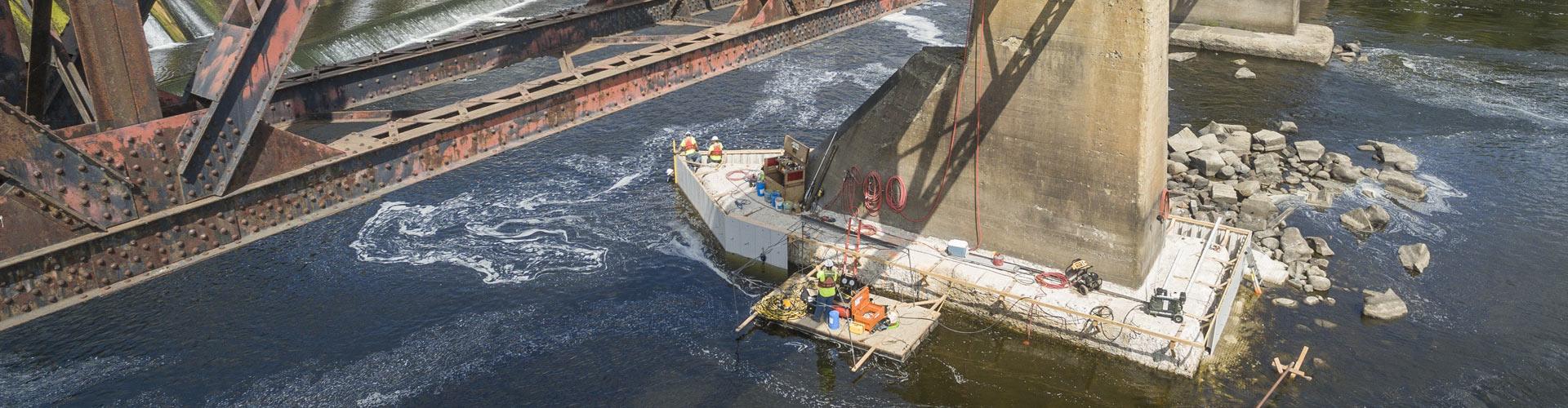 vinyl sheet piling, pier repairs, abutment repairs, concrete repairs, leave in place formwork, railroad bridge pier repairs