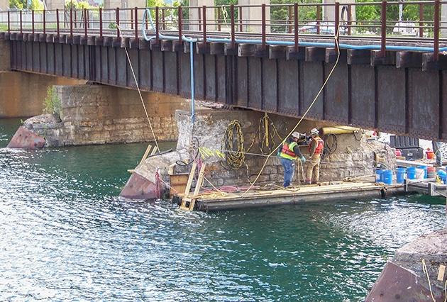 grouting repairs, grouting, bridge pier grouting, railroad bridge pier grouting, pier and abutment repairs