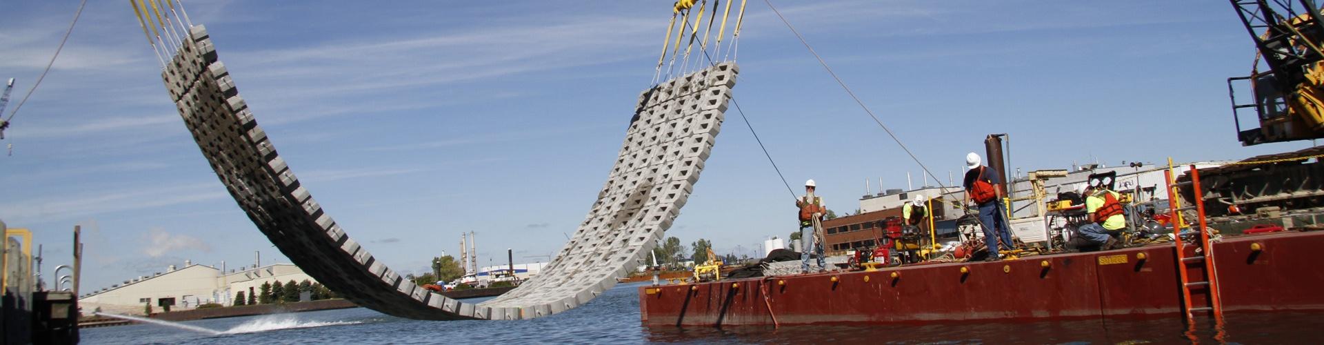 precast articulating block mats, scour and erosion repairs, railroad bridge scour and erosion prevention