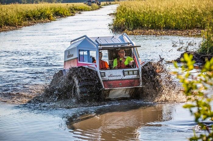 Sherp ATV climbing the bank